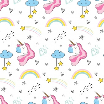 Unicorn and rainbow seamless pattern in kawaii style