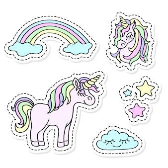 Unicorn and rainbow sticker set