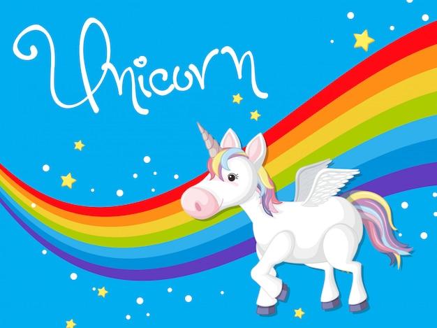 Unicorn on rainbow template