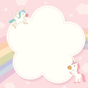 Unicorn and rainbow template.