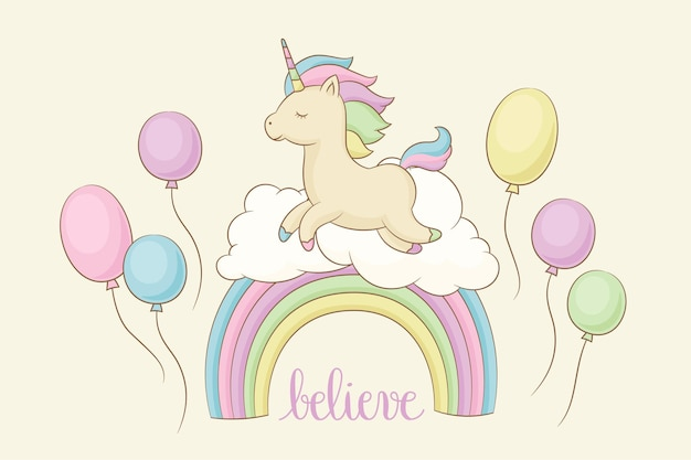 Unicorn on a rainbow with clouds balloons and lettering believe vector illustration