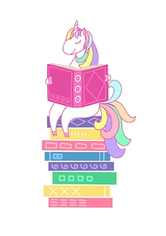 Unicorn reading book on stack of books