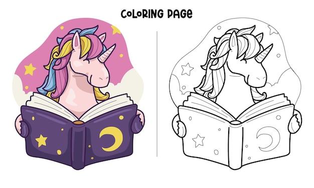 Unicorn reads a book