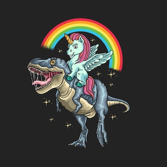 Unicorn ride dinosaur illustration