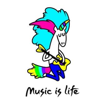 Unicorn rock star vector illustration for design