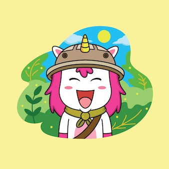 Unicorn in scout clothes in forest background