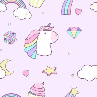 Unicorn seamless pattern background vector