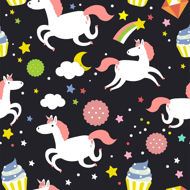 Unicorn seamless pattern background vector