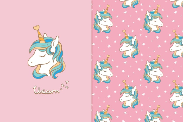 Unicorn seamless pattern greeting card