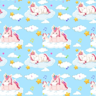 Unicorn seamless pattern with many clouds on blue background