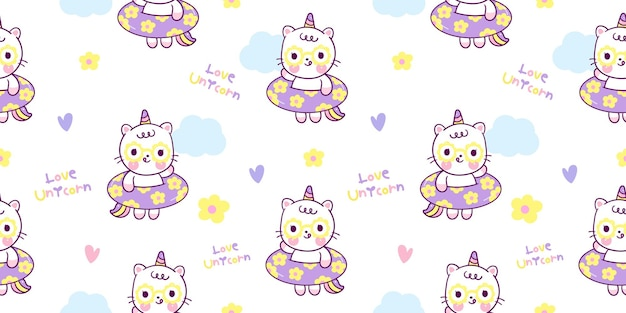 Unicorn seamless pattern with rubber band kawaii animal