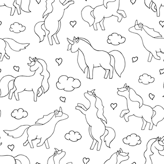Unicorn seamless pattern.