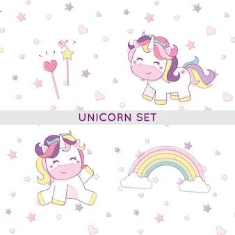 Unicorn set cute illustrations