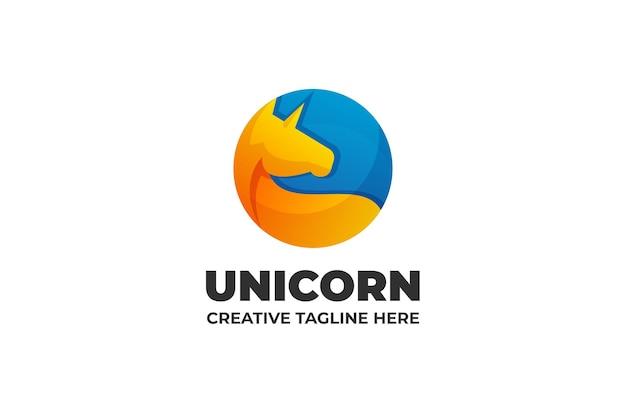 유니콘 실루엣 그라데이션 로고 사업
