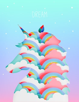 Unicorn silhouette paper art cut in layer with cloud and rainbow in pastel color scheme ve
