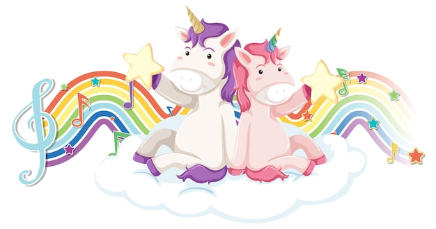 Unicorn sitting on the cloud with melody symbols on rainbow wave