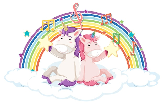 Unicorno seduto su una nuvola con simbolo arcobaleno e melodia
