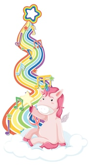 Unicorn sitting on the cloud with rainbow on white background