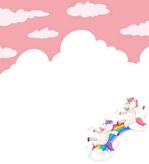Unicorn on sky background