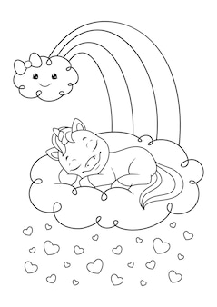 Unicorn sleeping on the cloud coloring page