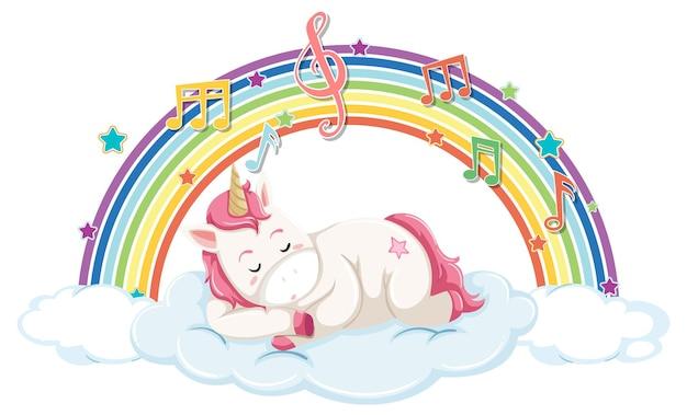 Unicorno che dorme su una nuvola con simbolo arcobaleno e melodia