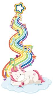 Unicorno che dorme sulla nuvola con arcobaleno su sfondo bianco