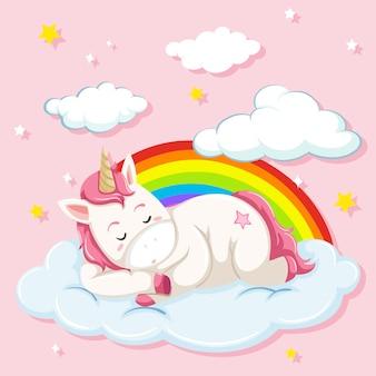 Unicorn sleeping on cloud