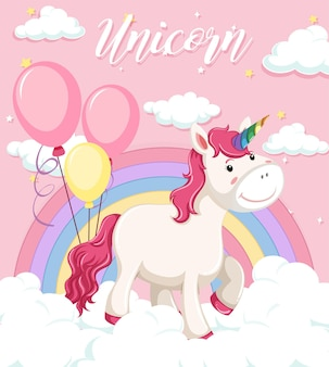 ピンクの空の背景にパステルカラーの虹と雲の上に立つユニコーン
