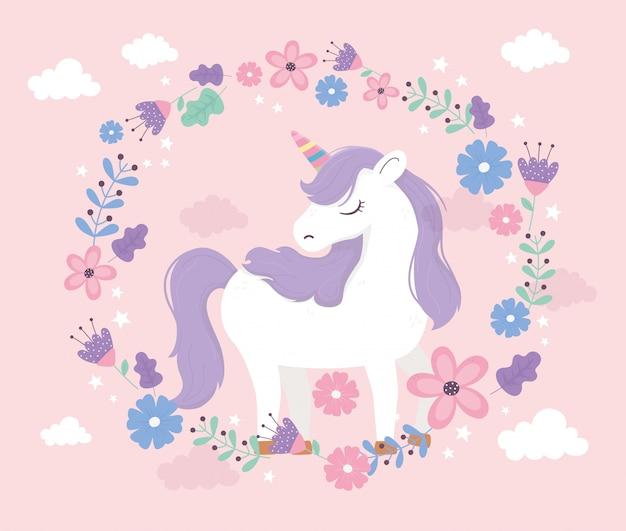 Unicorn standing cartoon wreath flowers fantasy magic dream cute pink background illustration