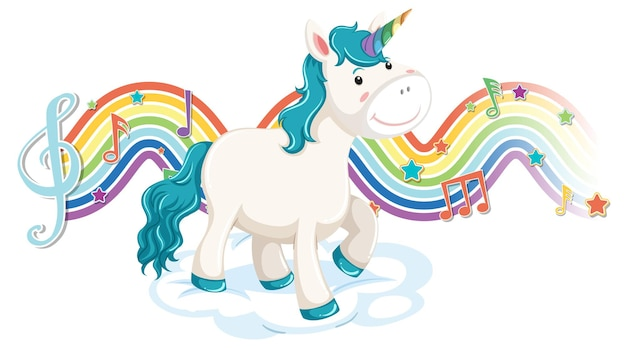 Unicorn standing on the cloud with melody symbols on rainbow wave