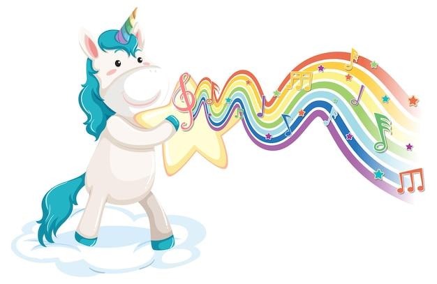 Unicorno in piedi sulla nuvola con simboli di melodia sull'onda arcobaleno