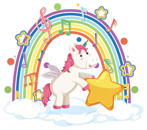 Unicorn standing on cloud with rainbow and melody symbol