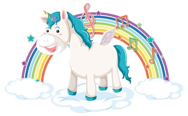 Unicorno in piedi su una nuvola con simbolo arcobaleno e melodia