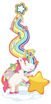 Unicorn standing on the cloud with rainbow on white background Free Vector