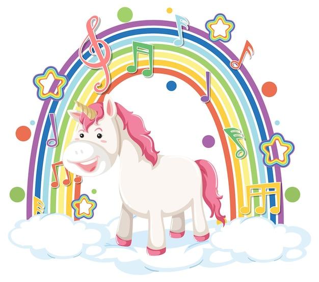 Единорог, стоящий на облаке с символом радуги и мелодии