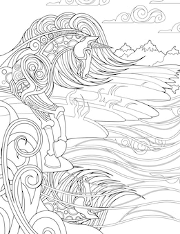 Unicorn standing staring at water reflection on windy shore colorless line drawing mythical