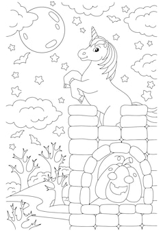 The unicorn stands on a high castle coloring book page for kids halloween theme
