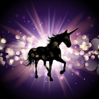 Unicorno su sfondo starburst