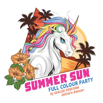 Unicorn summer beach coconut tree and flower full colour vector