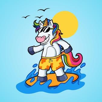Unicorn surfing in summer