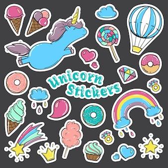 Unicorn sweet set of stickers in cartoon comic style.