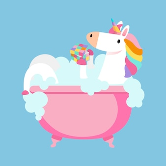 Unicorn taking a bath vector