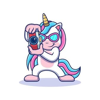 Unicorn taking picture. animal vector icon illustration