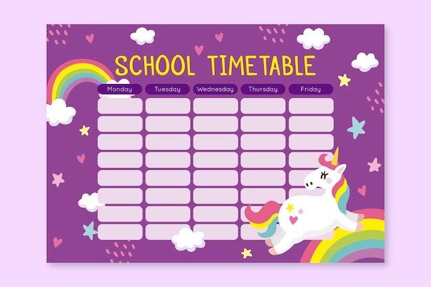 Unicorn timetable back to school concept