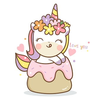 Unicorn vector with cupcake