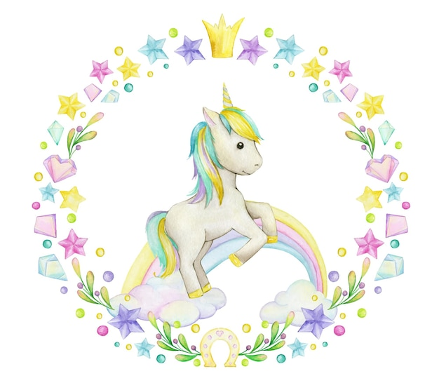 Unicorn watercolor frame  with clouds and crystals.