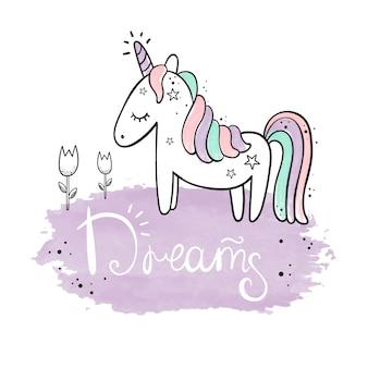 Unicorn. watercolor illustration