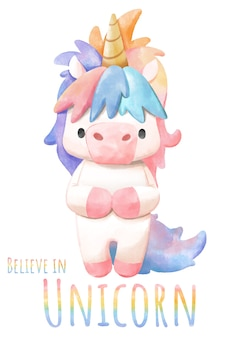 Unicorn, watercolor unicorn on white background.