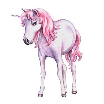 白に分離されたピンクのたてがみを持つユニコーン。水彩イラスト