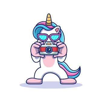 Unicorn with camera. animal vector icon illustration